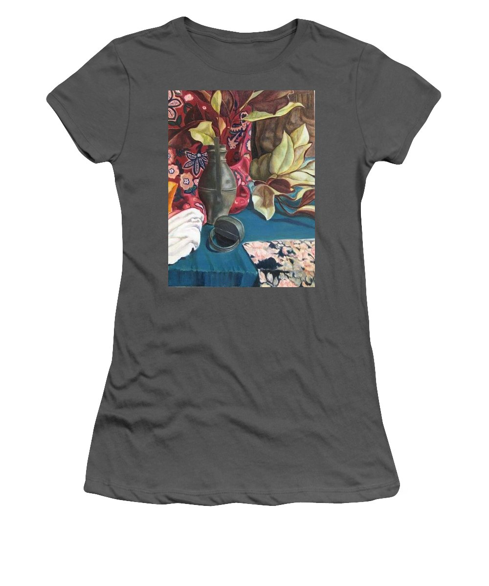 Still-life Women's T-Shirt (Athletic Fit) featuring the painting Still-life With Magnolia Leaves by Piety Choi