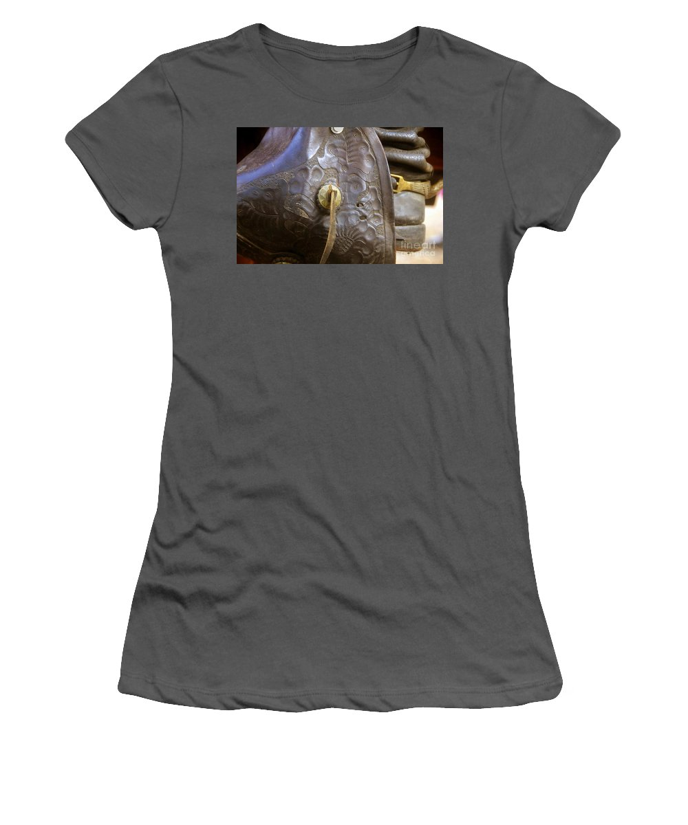 Stirrup Women's T-Shirt (Athletic Fit) featuring the photograph Stirrup And Boot by David Lee Thompson