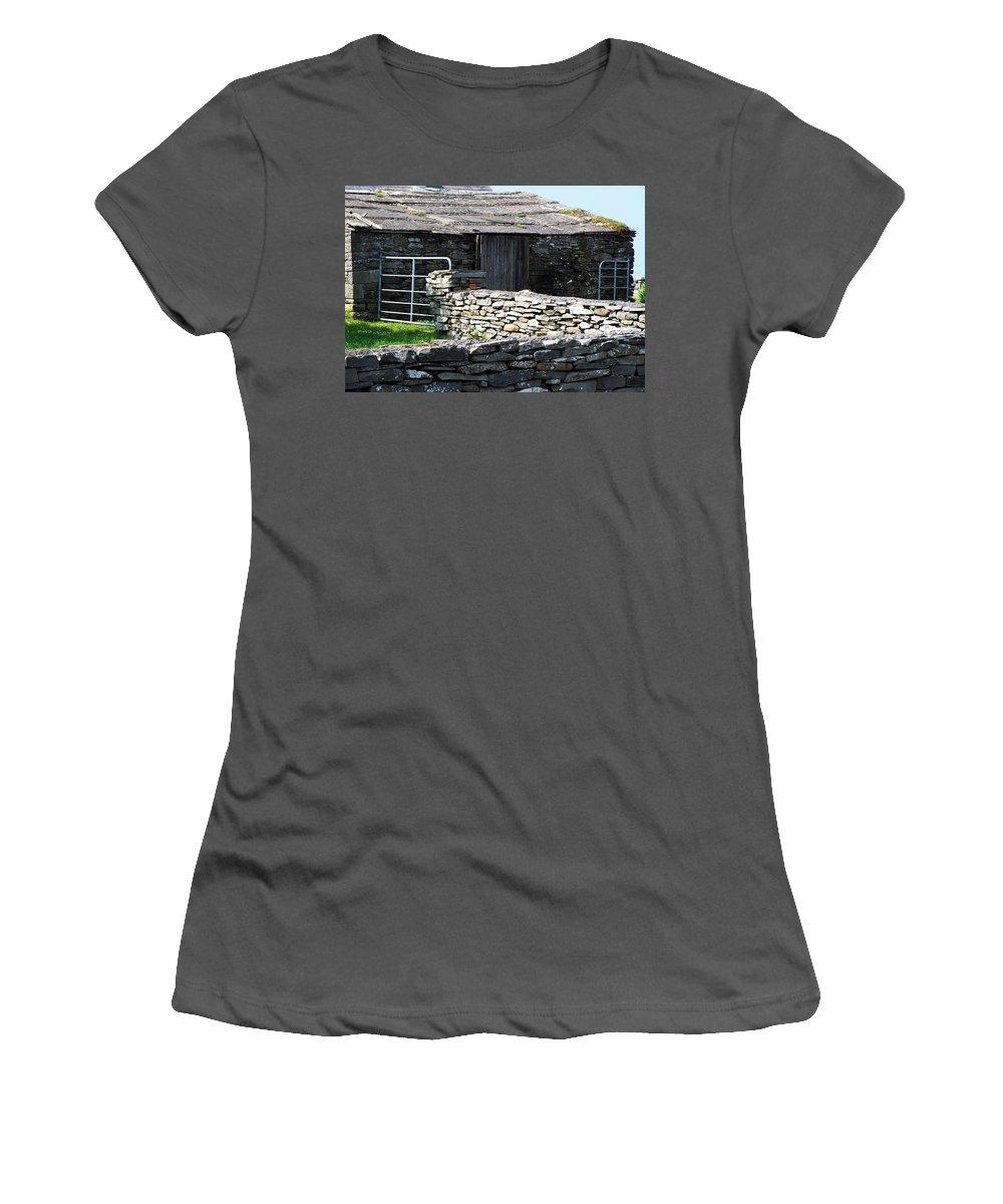 Irish Women's T-Shirt (Athletic Fit) featuring the photograph Stone Barn Doolin Ireland by Teresa Mucha