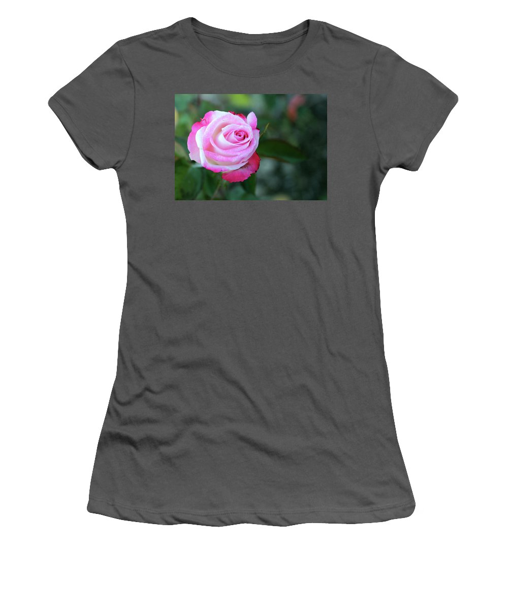 Roses Women's T-Shirt (Athletic Fit) featuring the photograph Stop And Smell The Roses by Samantha Burrow