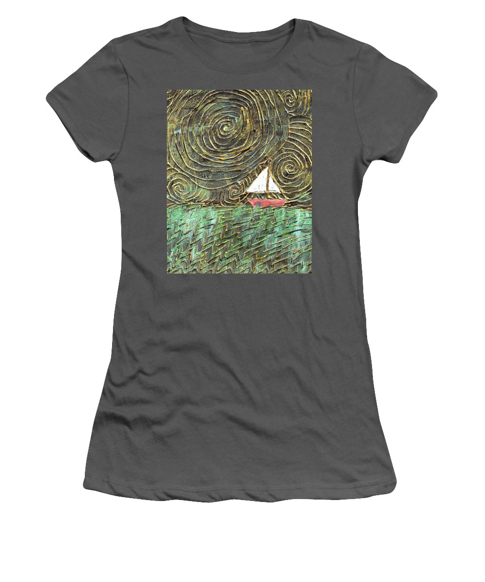 Storm Women's T-Shirt (Athletic Fit) featuring the painting Stormy Night by Wayne Potrafka