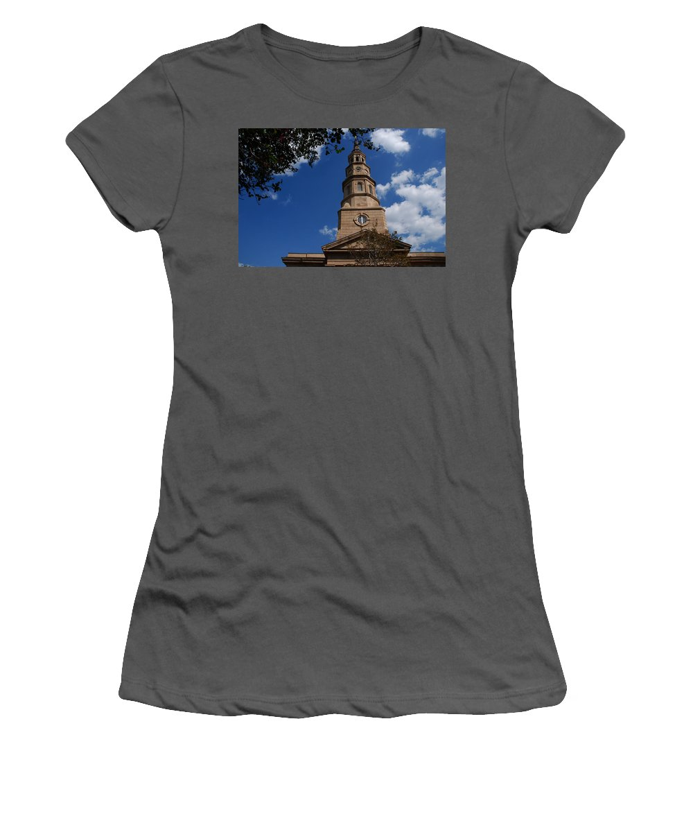 Photography Women's T-Shirt (Athletic Fit) featuring the photograph St.philips Church Charleston Sc by Susanne Van Hulst