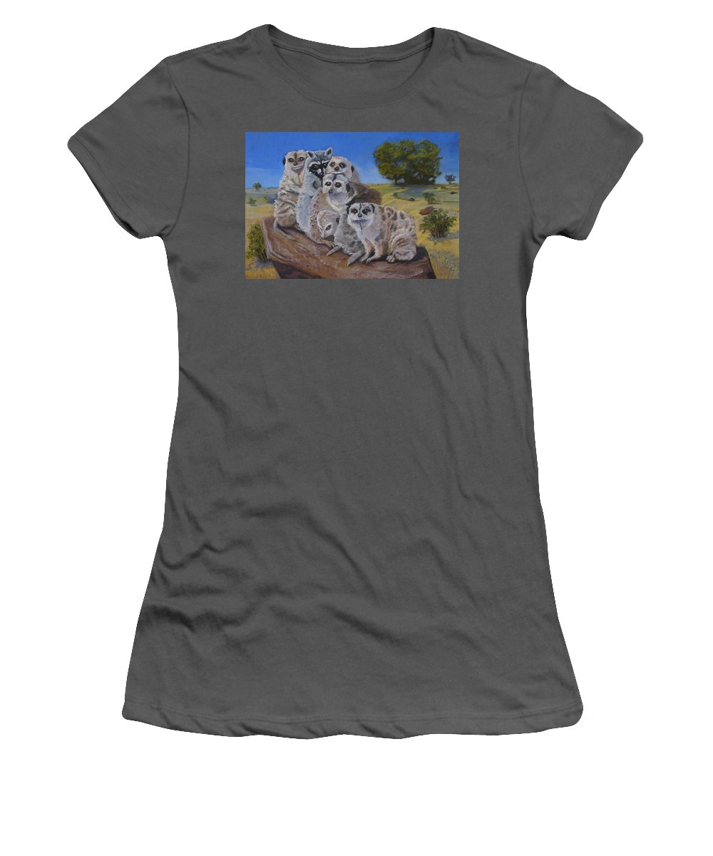 Meer Cat Women's T-Shirt (Athletic Fit) featuring the painting Stranger In A Strange Land by Heather Coen