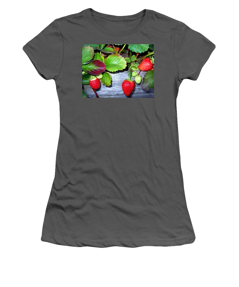 Strawberries Women's T-Shirt (Athletic Fit) featuring the photograph Strawberries by Will Borden