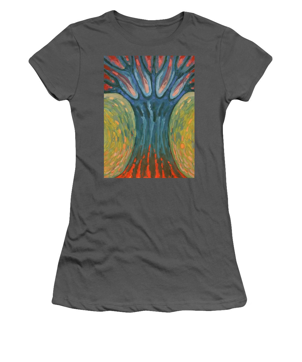 Colour Women's T-Shirt (Athletic Fit) featuring the painting Strenght by Wojtek Kowalski