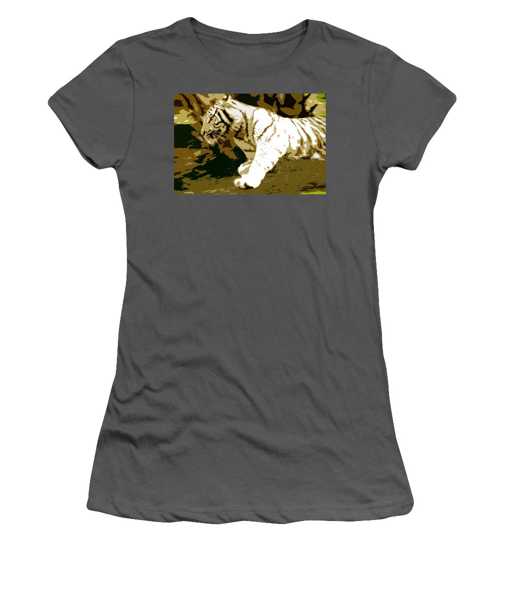 Tiger Women's T-Shirt (Athletic Fit) featuring the painting Striking Tiger by David Lee Thompson
