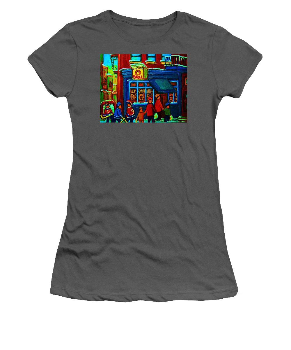Montreal Bagelshop Women's T-Shirt (Athletic Fit) featuring the painting St.viateur Bagel And Hockey Kids by Carole Spandau