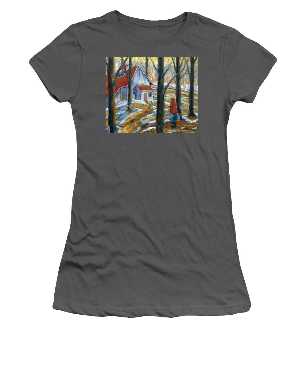 Suga Women's T-Shirt (Athletic Fit) featuring the painting Sugar Bush by Richard T Pranke