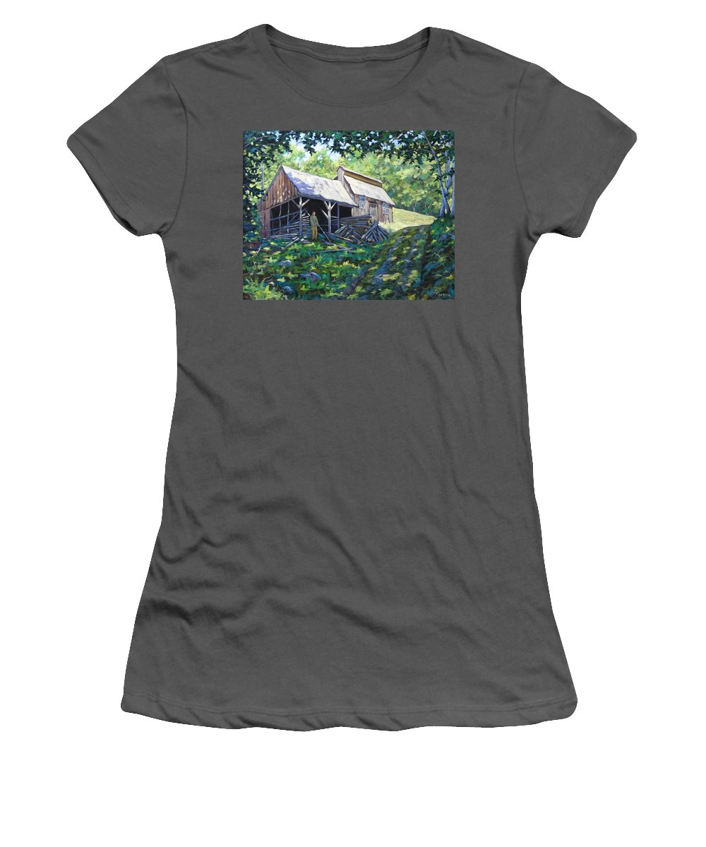 Sugar Shack Women's T-Shirt (Athletic Fit) featuring the painting Sugar Shack In July by Richard T Pranke