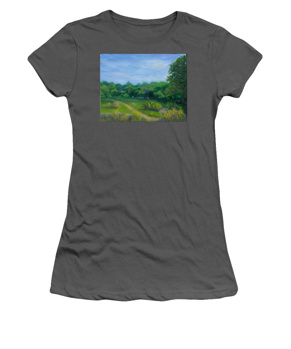 Landscape Women's T-Shirt (Athletic Fit) featuring the painting Summer Afternoon At Ashlawn Farm by Paula Emery