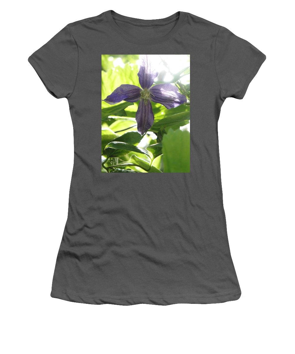 Flora Women's T-Shirt (Athletic Fit) featuring the photograph Summer Clematis In Light Shade by Susan Baker