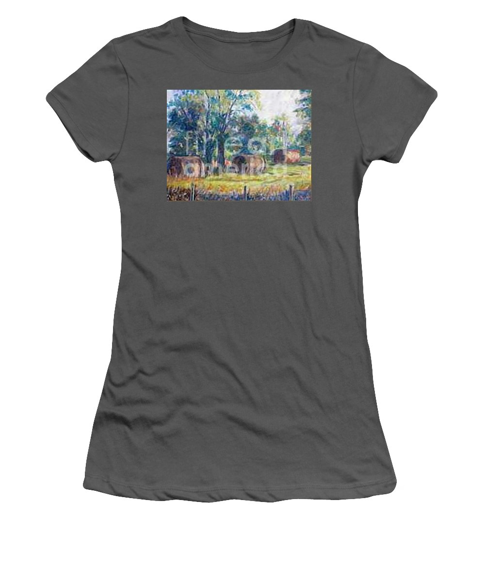 Landscape Women's T-Shirt (Athletic Fit) featuring the painting Summer Idyll by Jan Bennicoff