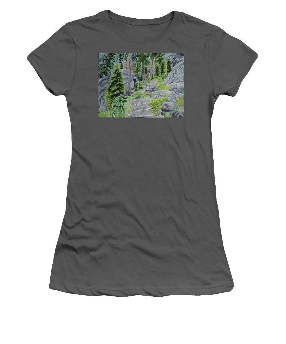 Landscape Women's T-Shirt (Athletic Fit) featuring the painting Summer In Game by Helena Brnadic
