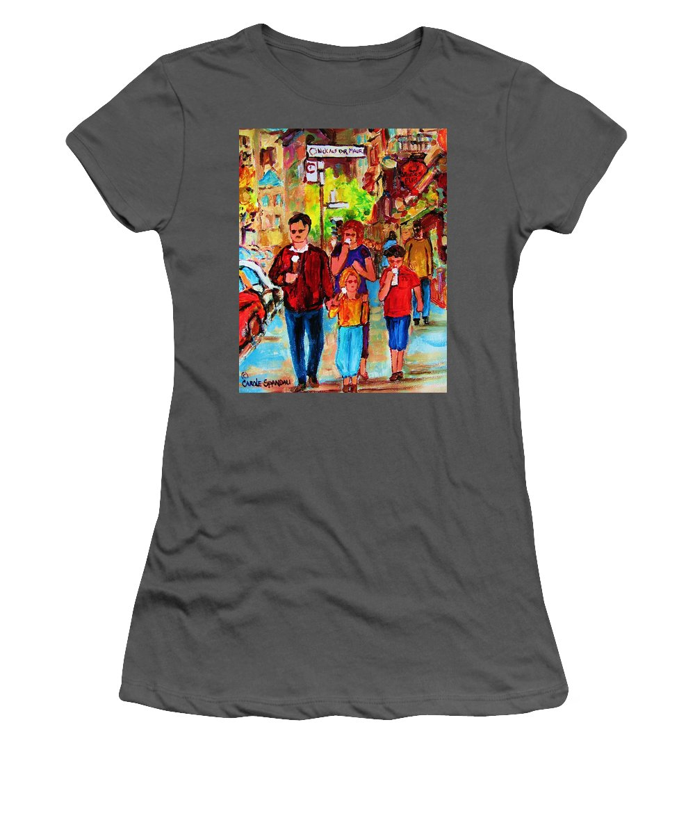 Montreal Streetscenes Women's T-Shirt (Athletic Fit) featuring the painting Summer In The City by Carole Spandau