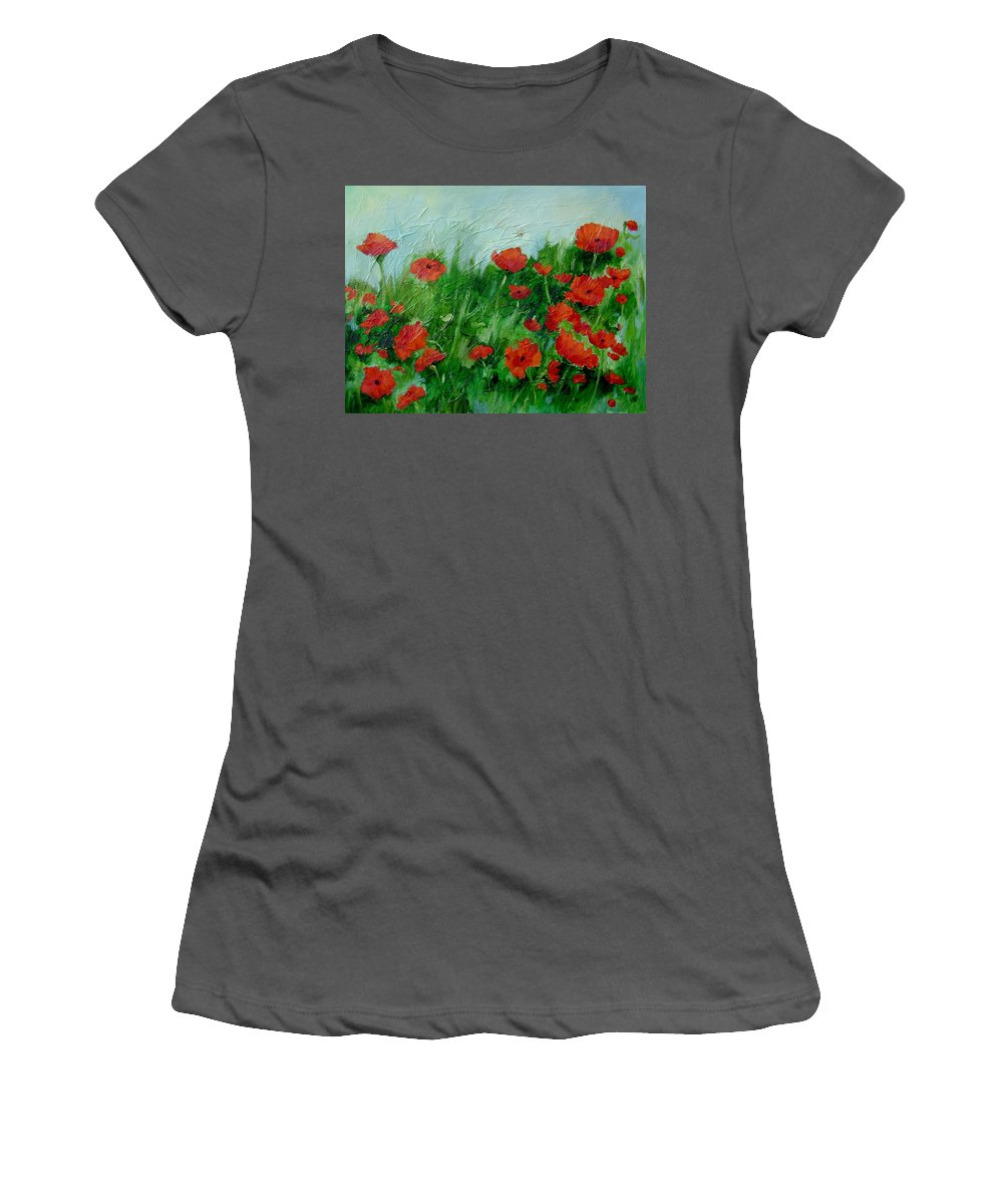 Red Poppies Women's T-Shirt (Athletic Fit) featuring the painting Summer Poppies by Ginger Concepcion