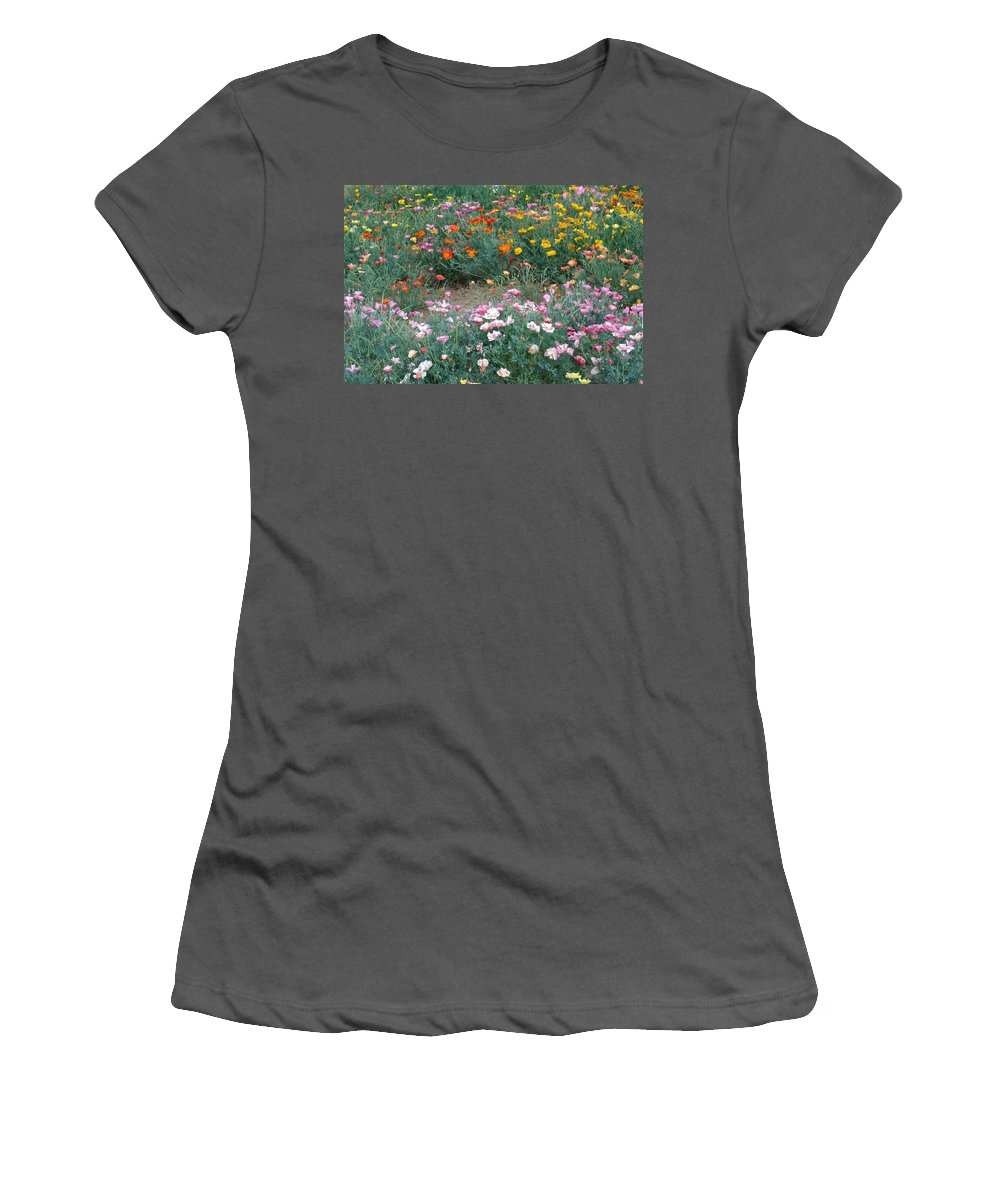 Flower Women's T-Shirt (Athletic Fit) featuring the photograph Summer Poppy Meadow by Susan Baker