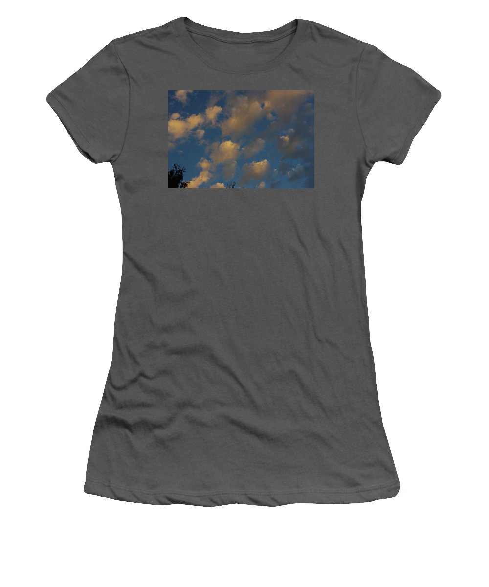 Clouds Women's T-Shirt (Athletic Fit) featuring the photograph Sun Kissed Clouds by Alice Markham