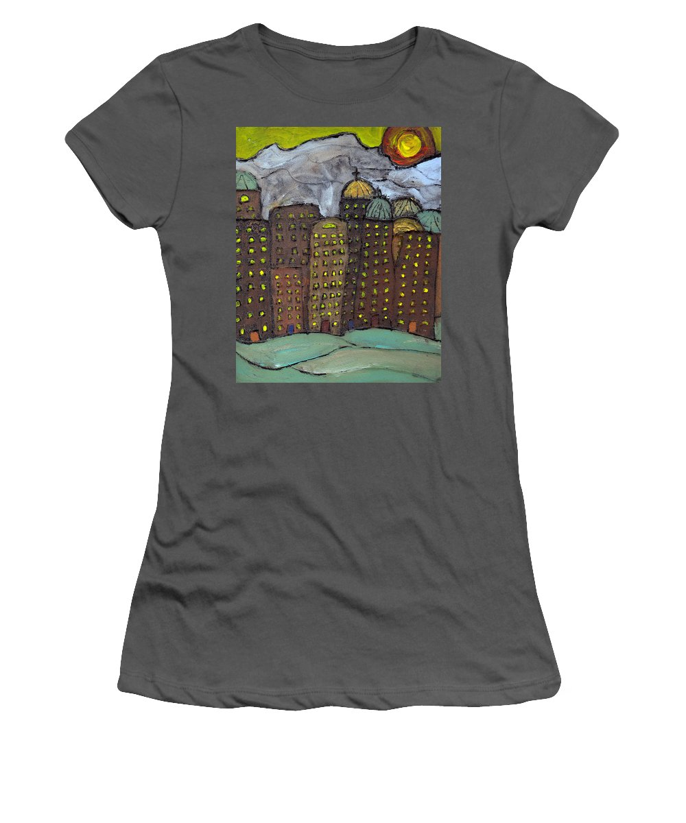 Buildings Women's T-Shirt (Athletic Fit) featuring the painting Sun Rising On Olde Towne by Wayne Potrafka