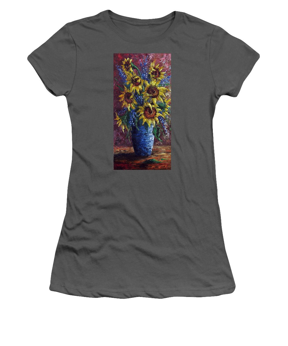 Flowers Women's T-Shirt (Athletic Fit) featuring the painting Sunflower Bouquet by David G Paul
