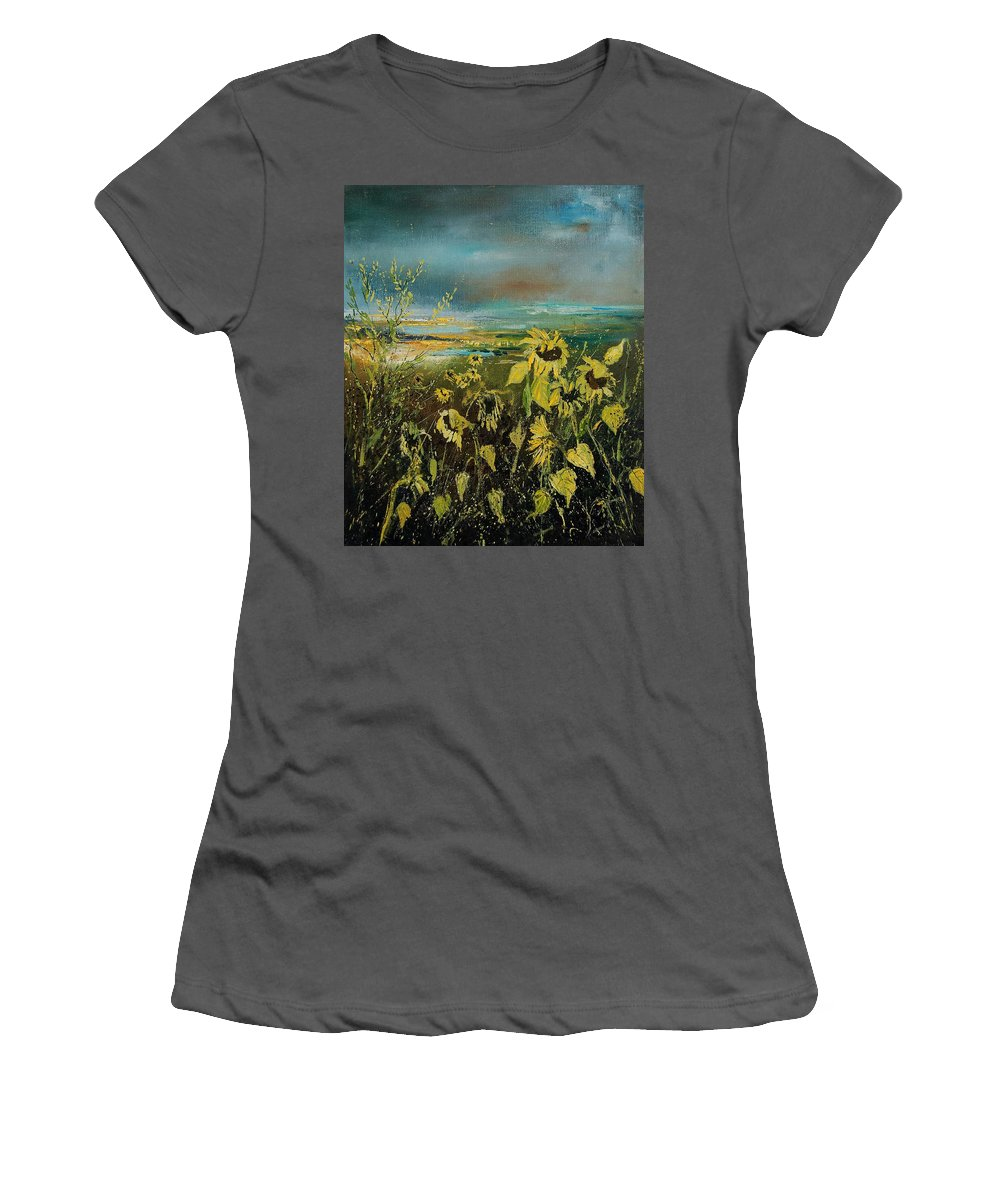 Flowers Women's T-Shirt (Athletic Fit) featuring the painting Sunflowers 562315 by Pol Ledent