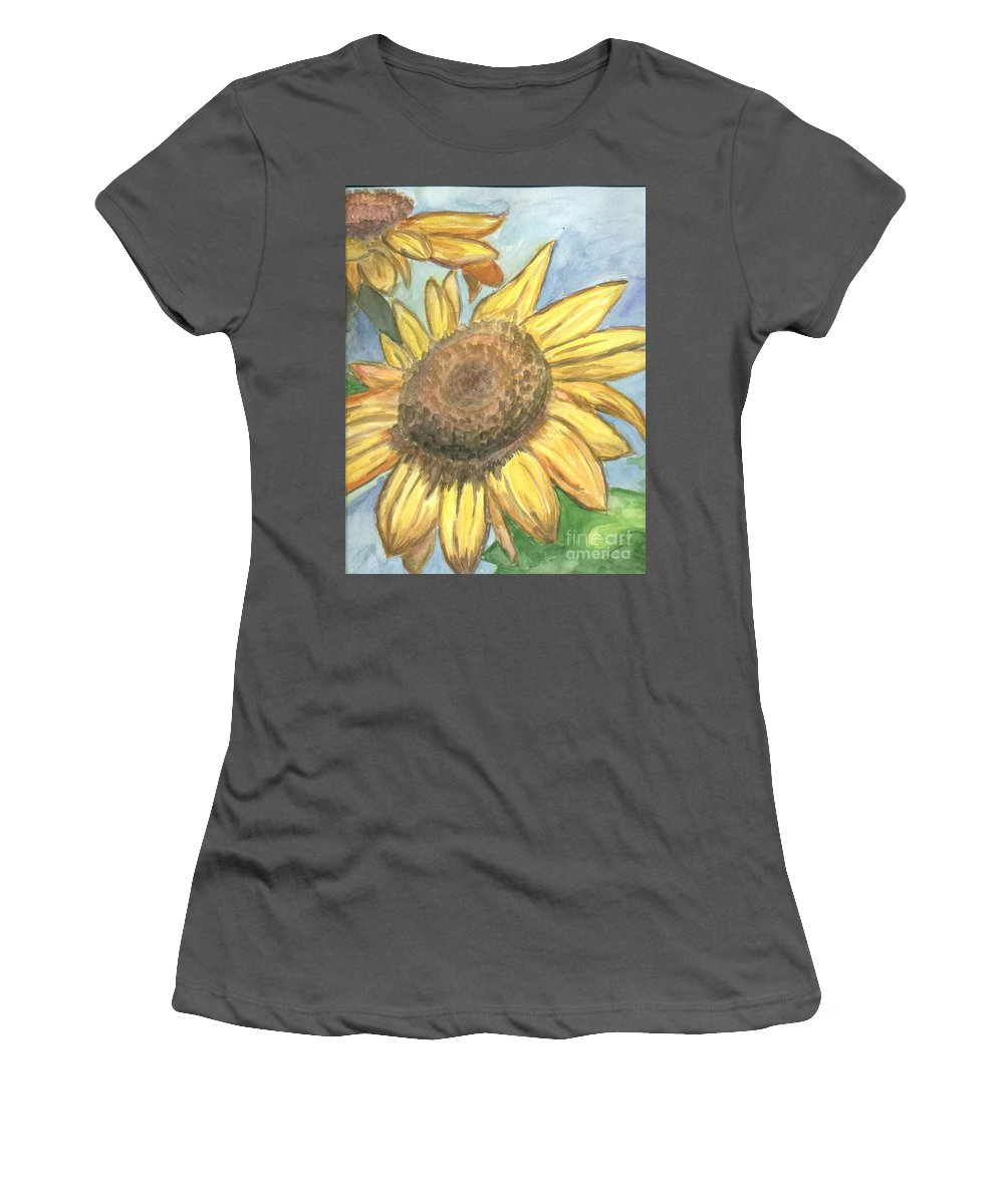Daisy Women's T-Shirt (Athletic Fit) featuring the painting Sunflowers by Jacqueline Athmann