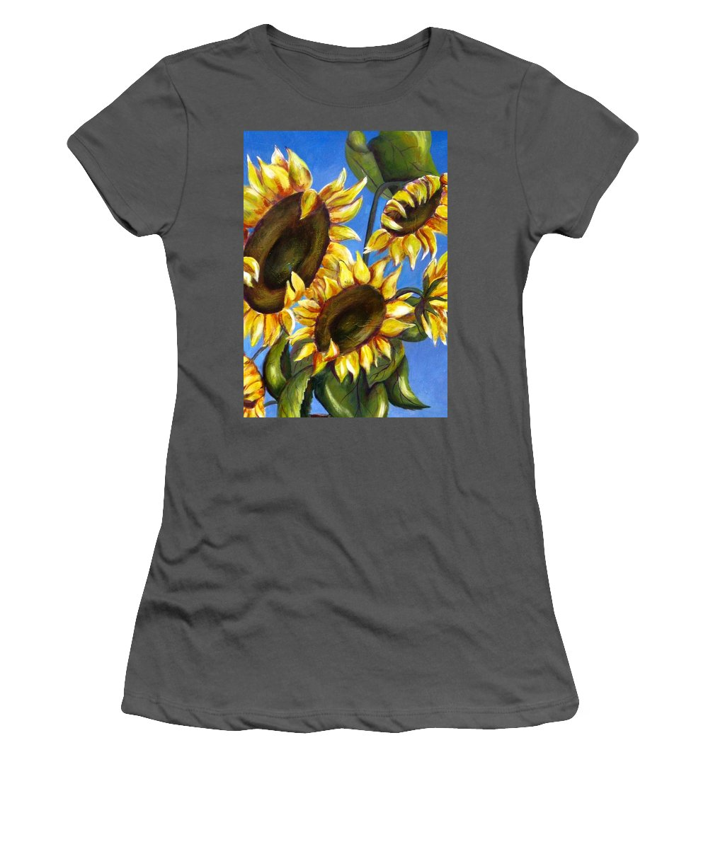 Flowers Women's T-Shirt (Athletic Fit) featuring the painting Sunflowers by Melody Horton Karandjeff