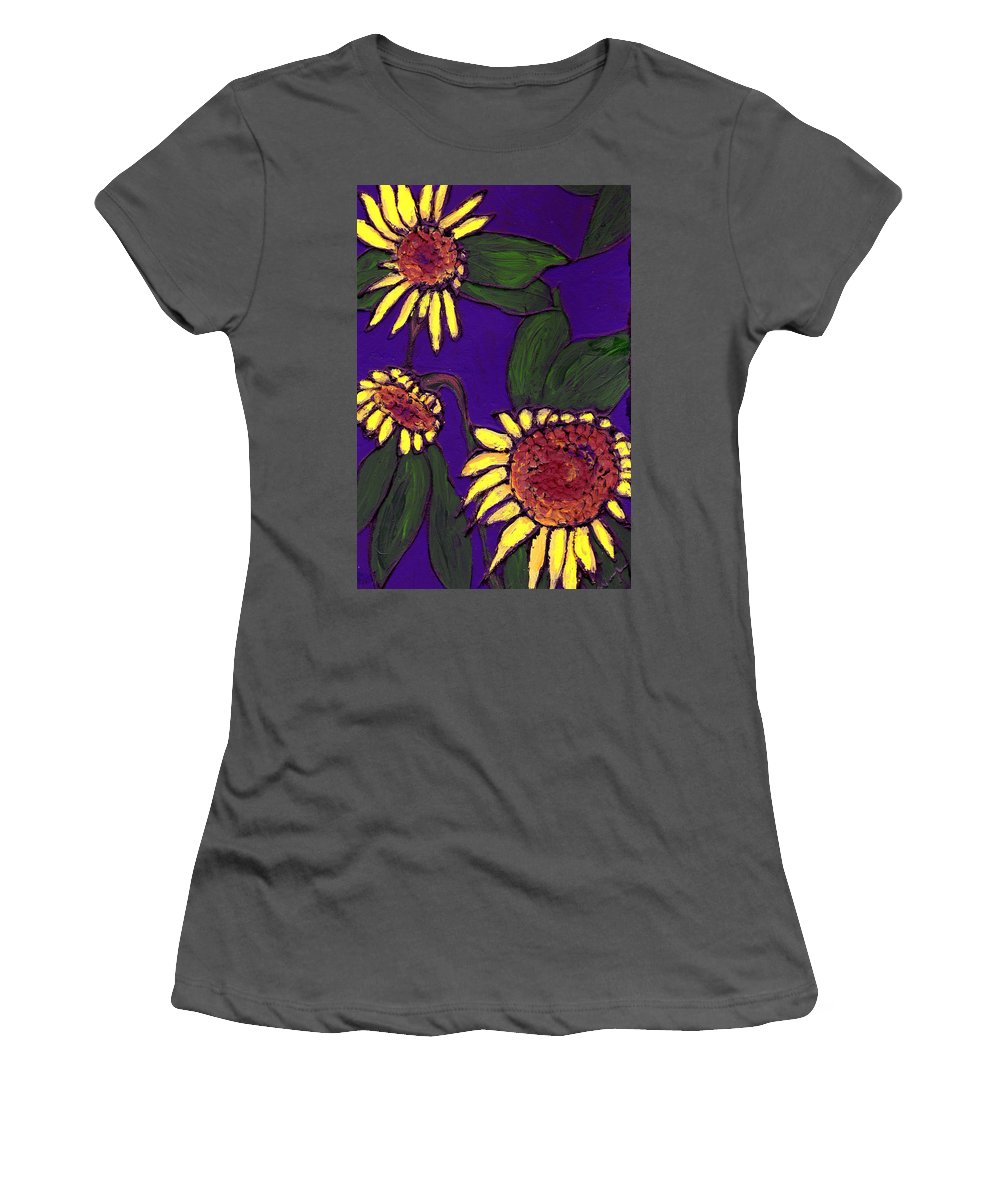 Sunflowers Women's T-Shirt (Athletic Fit) featuring the painting Sunflowers On Purple by Wayne Potrafka