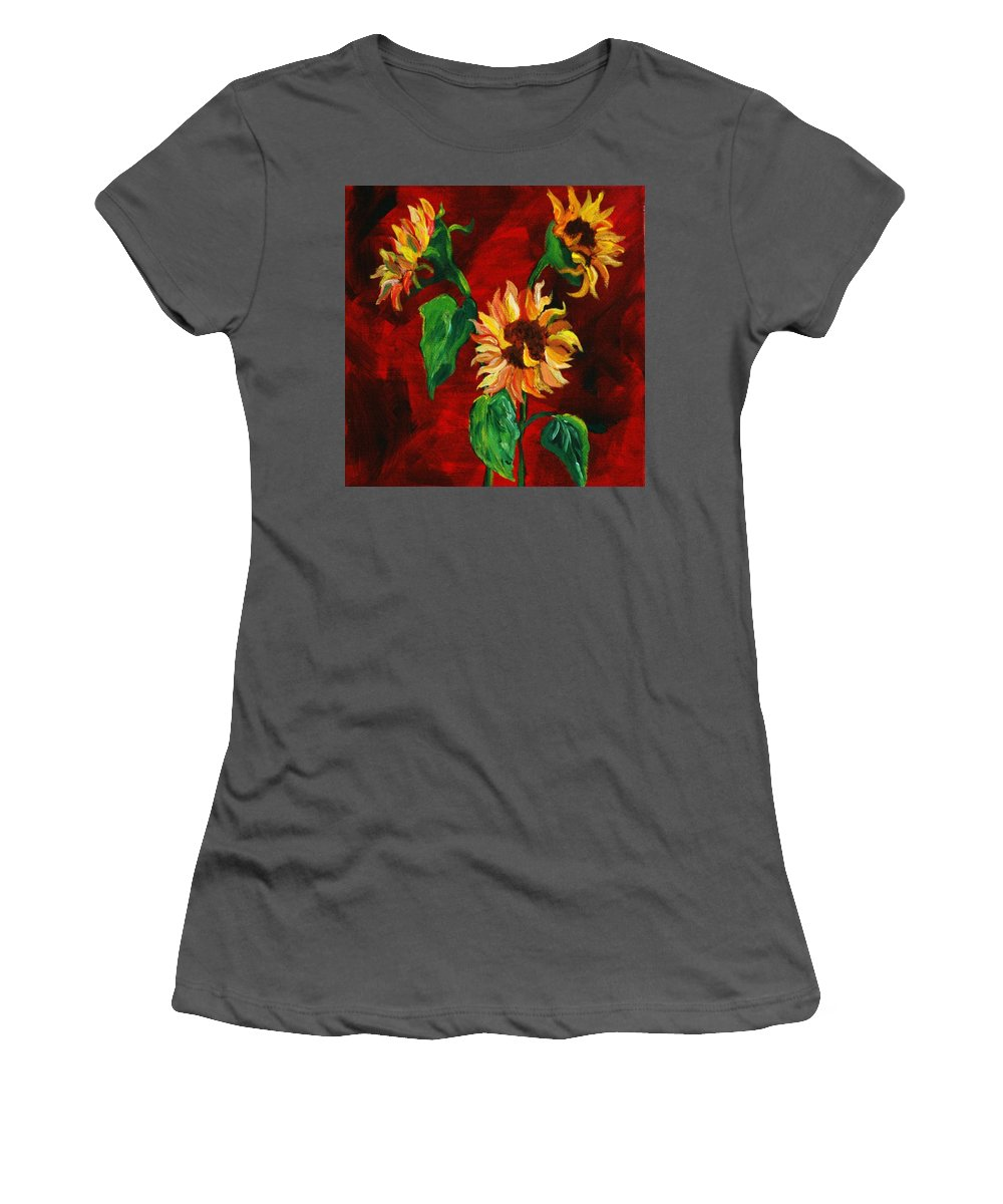 Flowers Women's T-Shirt (Athletic Fit) featuring the painting Sunflowers On Rojo by Melinda Etzold