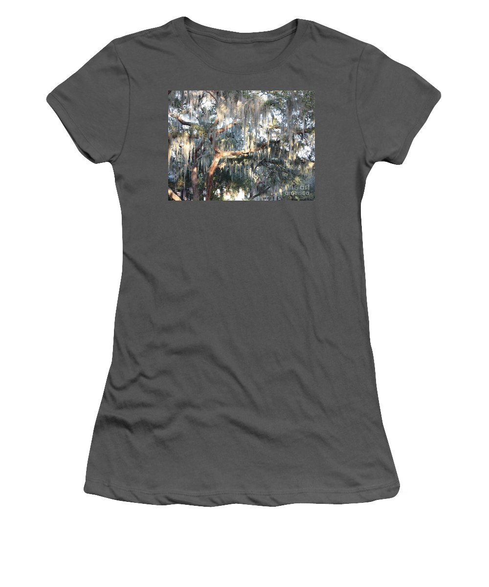 Spanish Moss Women's T-Shirt (Athletic Fit) featuring the photograph Sunlight On Mossy Tree by Carol Groenen