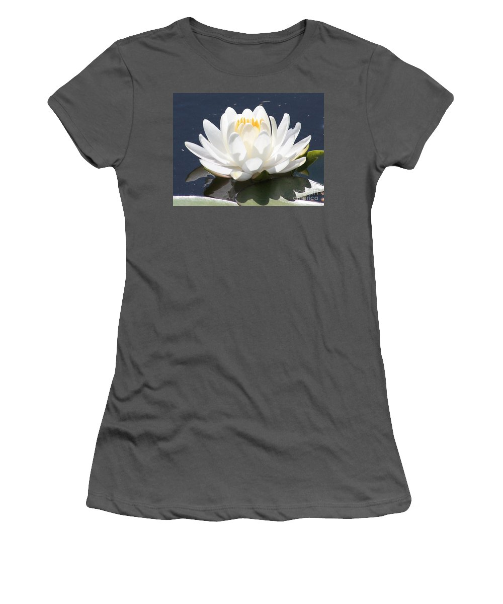 Flower Women's T-Shirt (Athletic Fit) featuring the photograph Sunlight On Water Lily by Carol Groenen