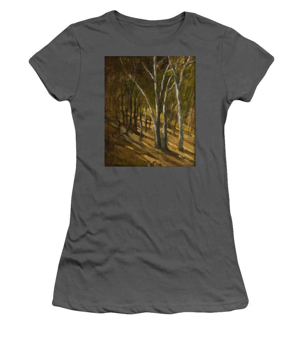 Landscape Women's T-Shirt (Athletic Fit) featuring the painting Sunlit Slopes by Mandar Marathe