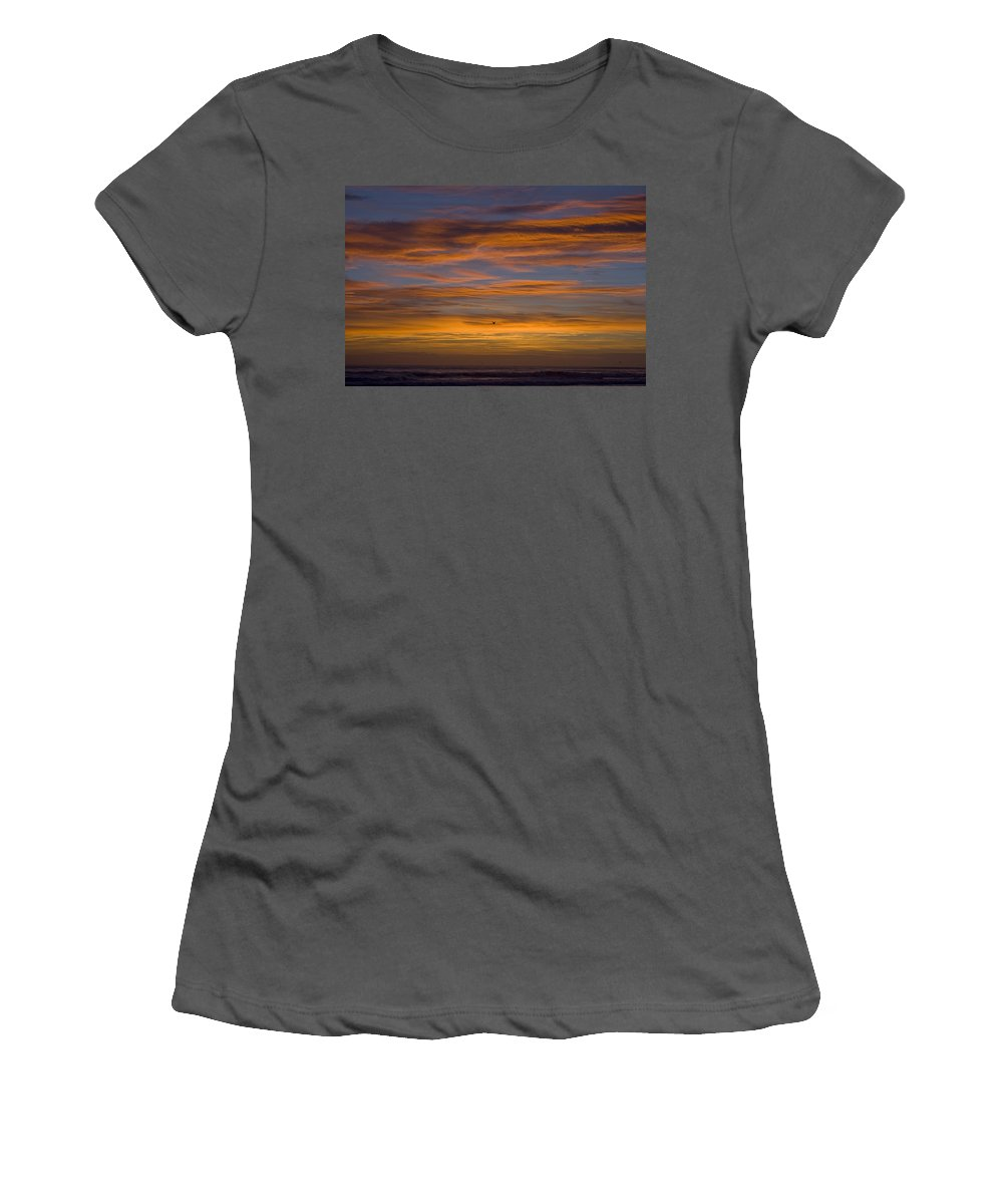 Sun Sunrise Cloud Clouds Morning Early Bright Orange Bird Flight Fly Flying Blue Ocean Water Waves Women's T-Shirt (Athletic Fit) featuring the photograph Sunrise by Andrei Shliakhau