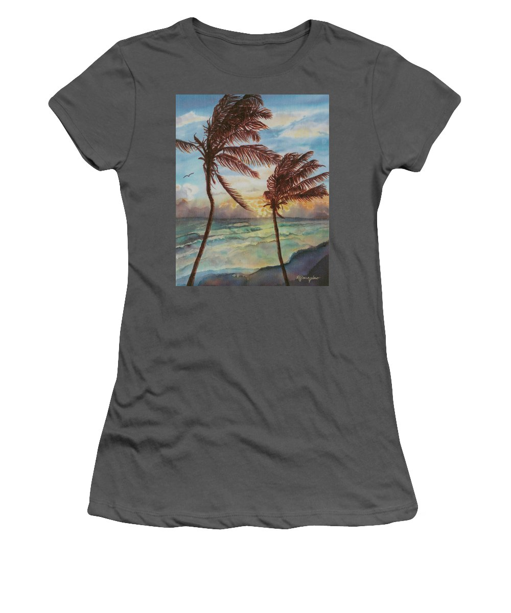 Coconut Tree Women's T-Shirt (Athletic Fit) featuring the painting Sunrise At Cattlewash 4 by Deborah Younglao