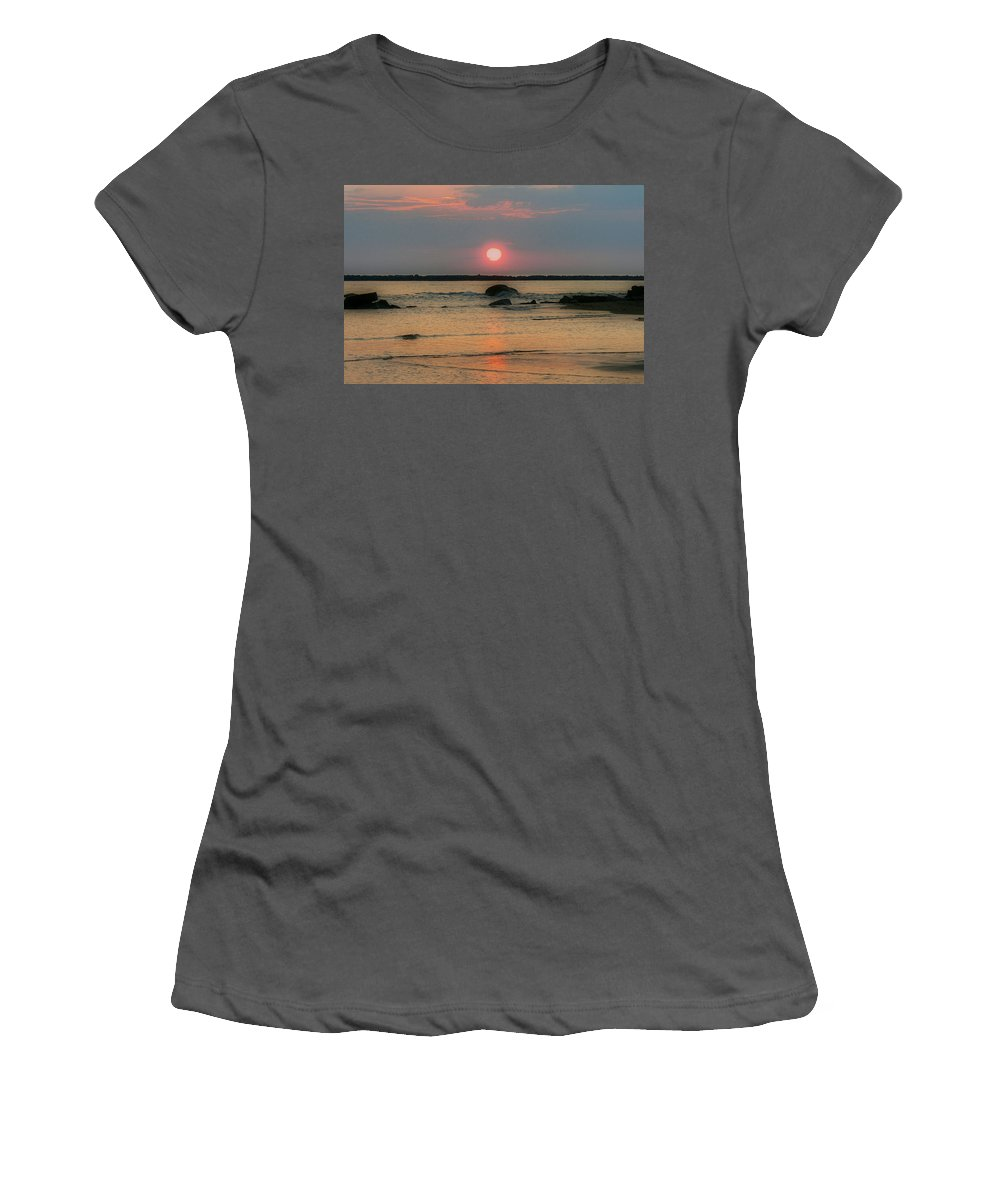New England Photos Women's T-Shirt (Athletic Fit) featuring the photograph Sunrise At The Beach by Nancie DeMellia