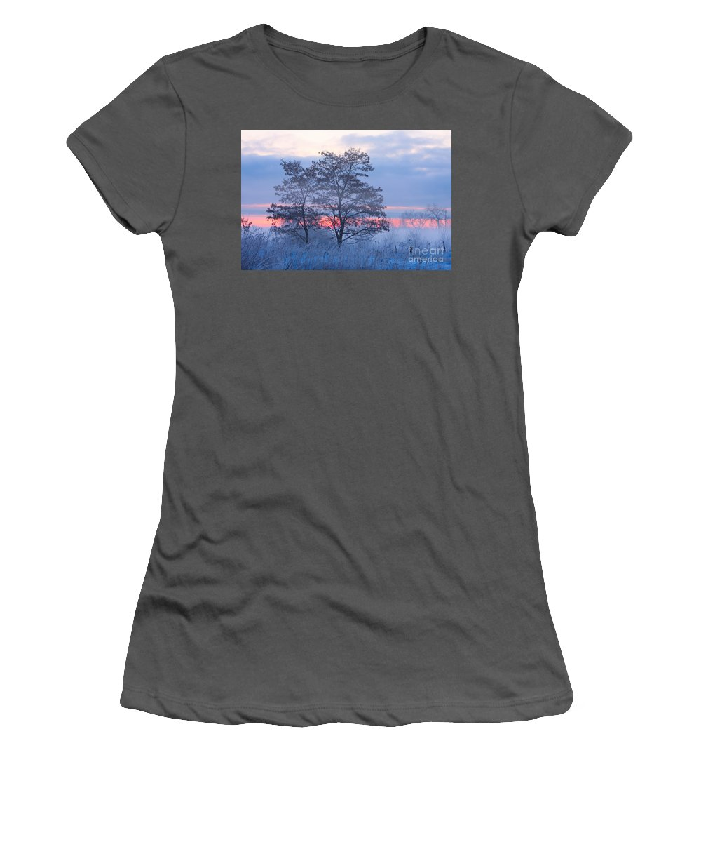 Fog Women's T-Shirt (Athletic Fit) featuring the photograph Sunrise Fog by James BO Insogna