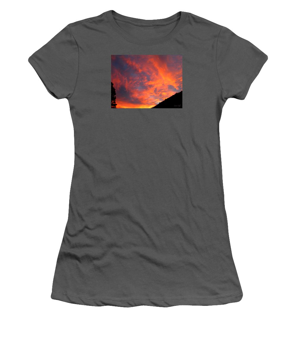 Sunrise Clouds Colorado Rocky Mountains Nature Zen Simple Colorful Big Sky Women's T-Shirt (Athletic Fit) featuring the photograph Sunrise by George Tuffy