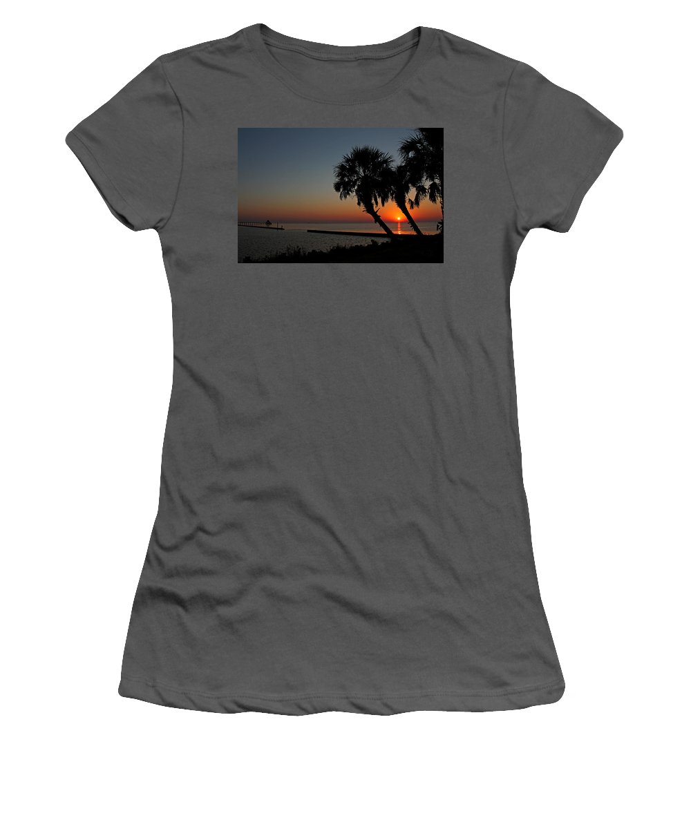 Sunrise Women's T-Shirt (Athletic Fit) featuring the photograph Sunrise On Pleasure Island by Judy Vincent
