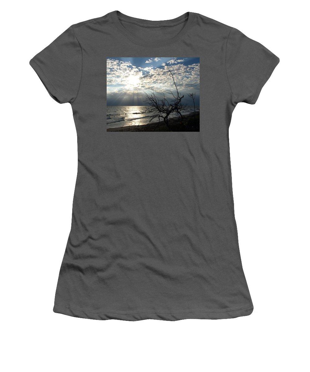 Morning; Sun; Rise; Sunrise; Sunset; Space; Coast; Melbourne; Beach; Florida; Shore; Rays; Fog; Mist Women's T-Shirt (Athletic Fit) featuring the photograph Sunrise Prayer On The Beach by Allan Hughes