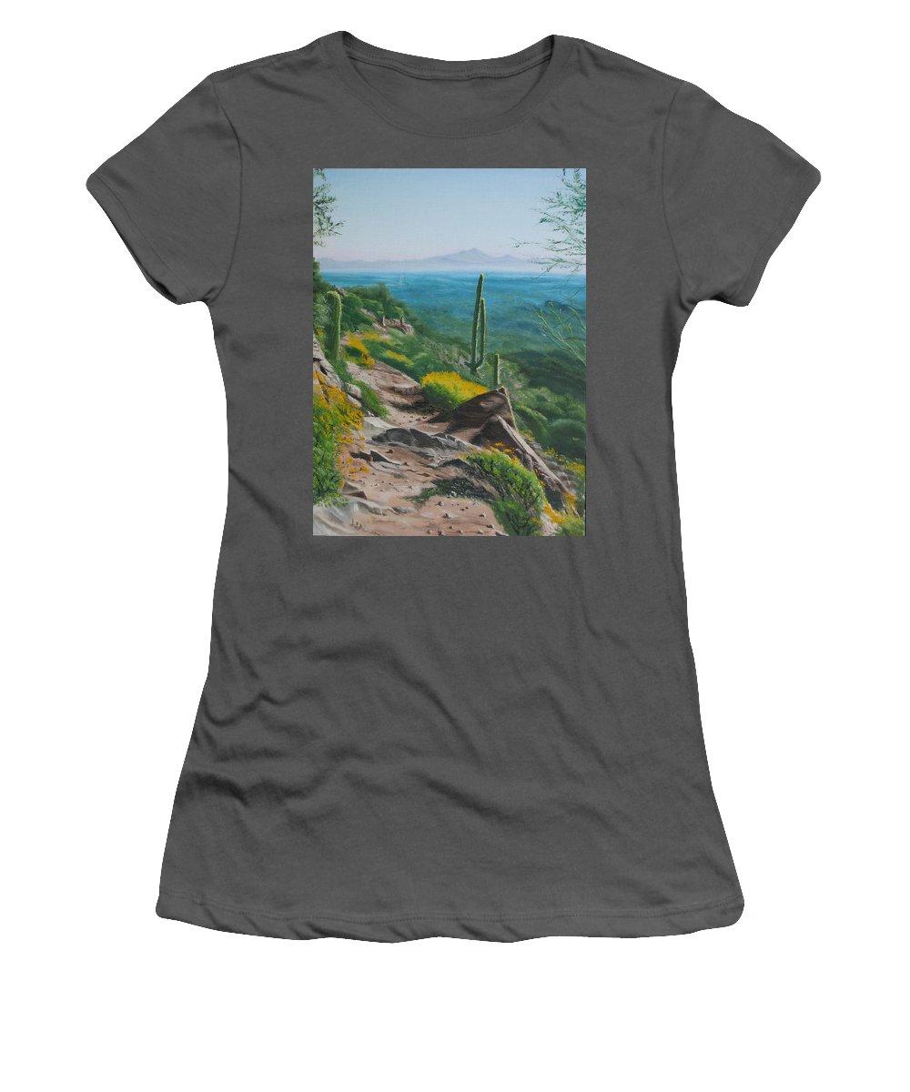 Landscape Women's T-Shirt (Athletic Fit) featuring the painting Sunrise Trail by Lea Novak