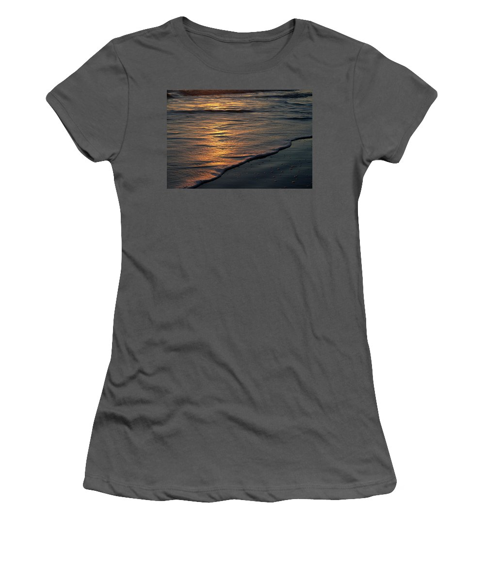 Ocean Beach Sun Sunrise Reflection Wave Tide Bright Orange Gold Water Vacation Women's T-Shirt (Athletic Fit) featuring the photograph Sunrise Waves by Andrei Shliakhau