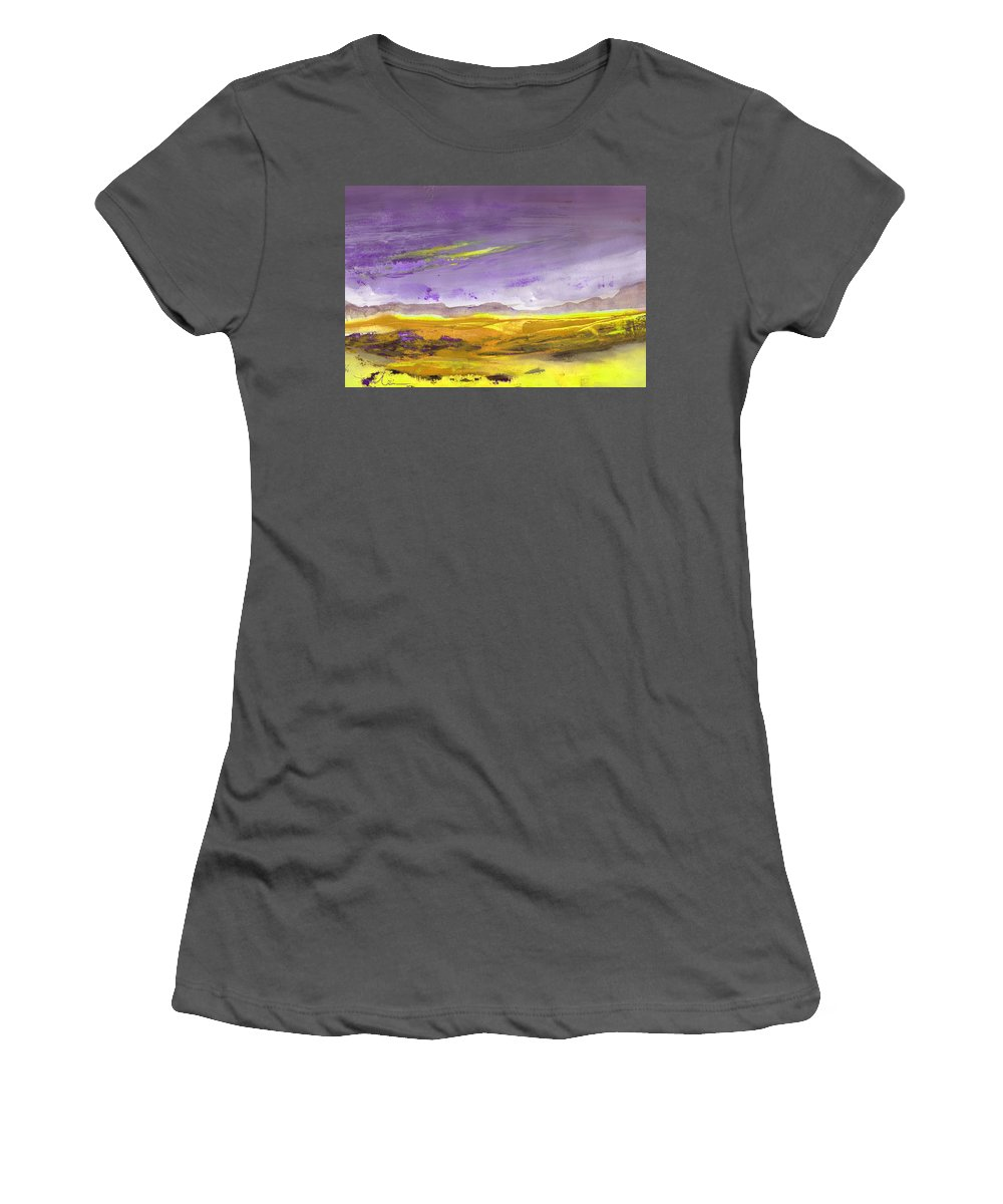 Landscapes Women's T-Shirt (Athletic Fit) featuring the painting Sunset 30 by Miki De Goodaboom