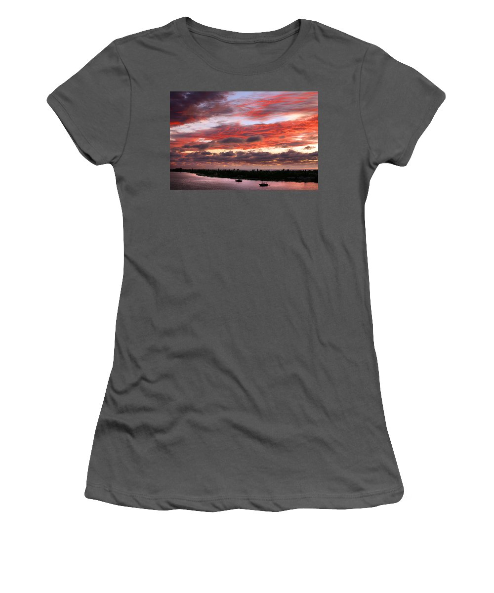 Sun Women's T-Shirt (Athletic Fit) featuring the photograph Sunset At Pass A Grille Florida by Mal Bray