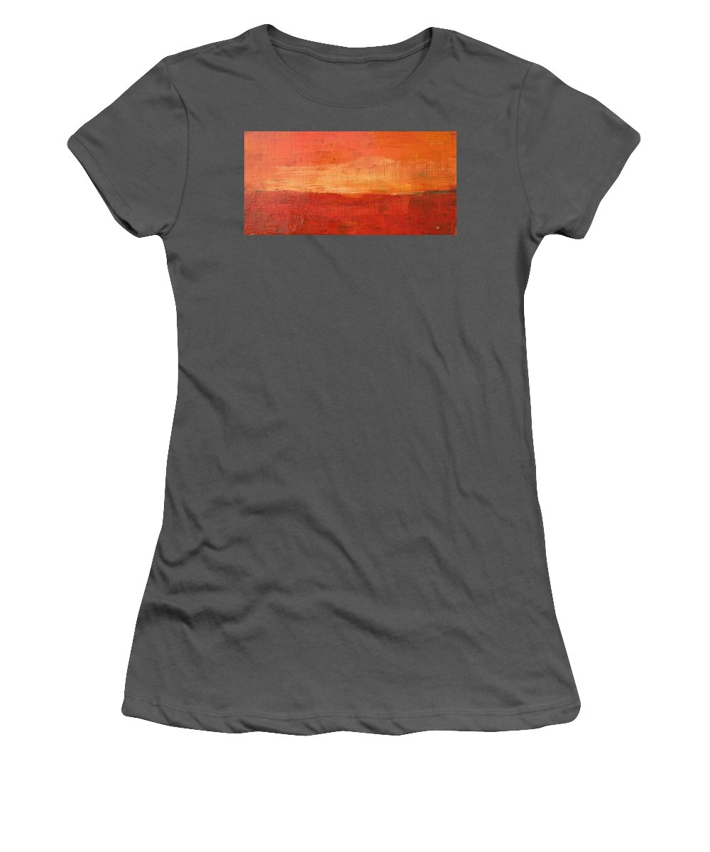 Abstract Women's T-Shirt (Athletic Fit) featuring the painting Sunset by Habib Ayat