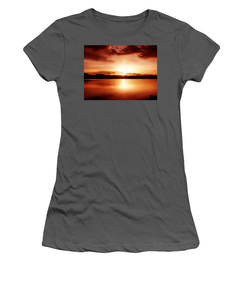 Lake Women's T-Shirt (Athletic Fit) featuring the photograph Sunset by Marilyn Hunt