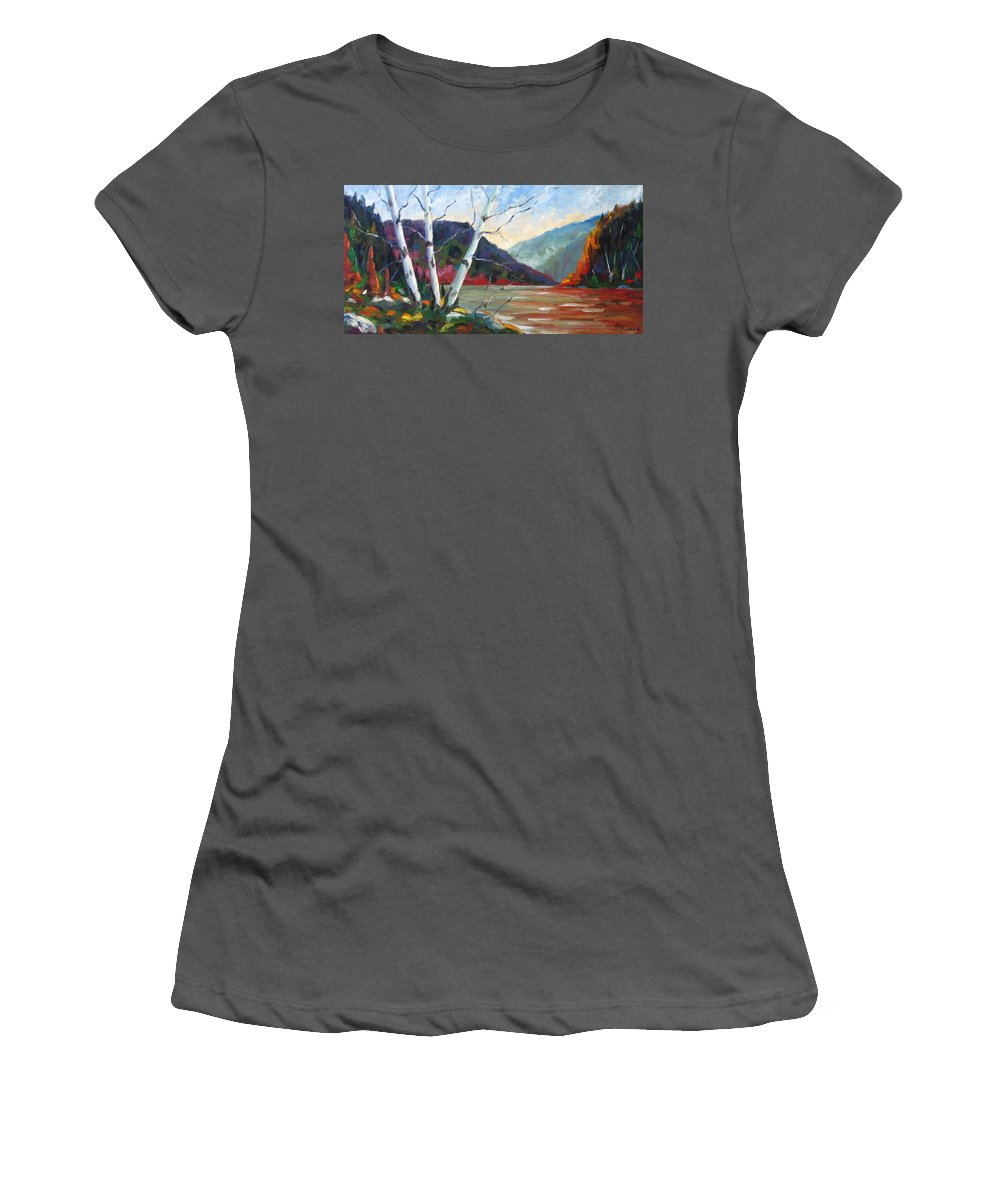 Landscape; Landscapes/scenic; Birches;sun;lake;pranke Women's T-Shirt (Athletic Fit) featuring the painting Sunset On The Lake by Richard T Pranke