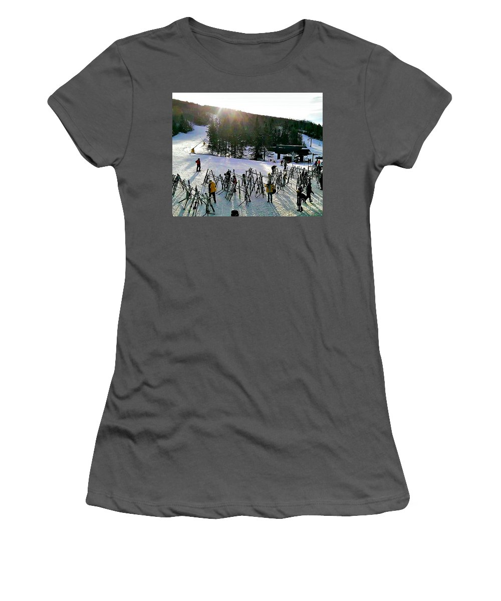 Bretton_woods_ski_resort Women's T-Shirt (Athletic Fit) featuring the photograph Sunset On The Slopes by Diann Fisher