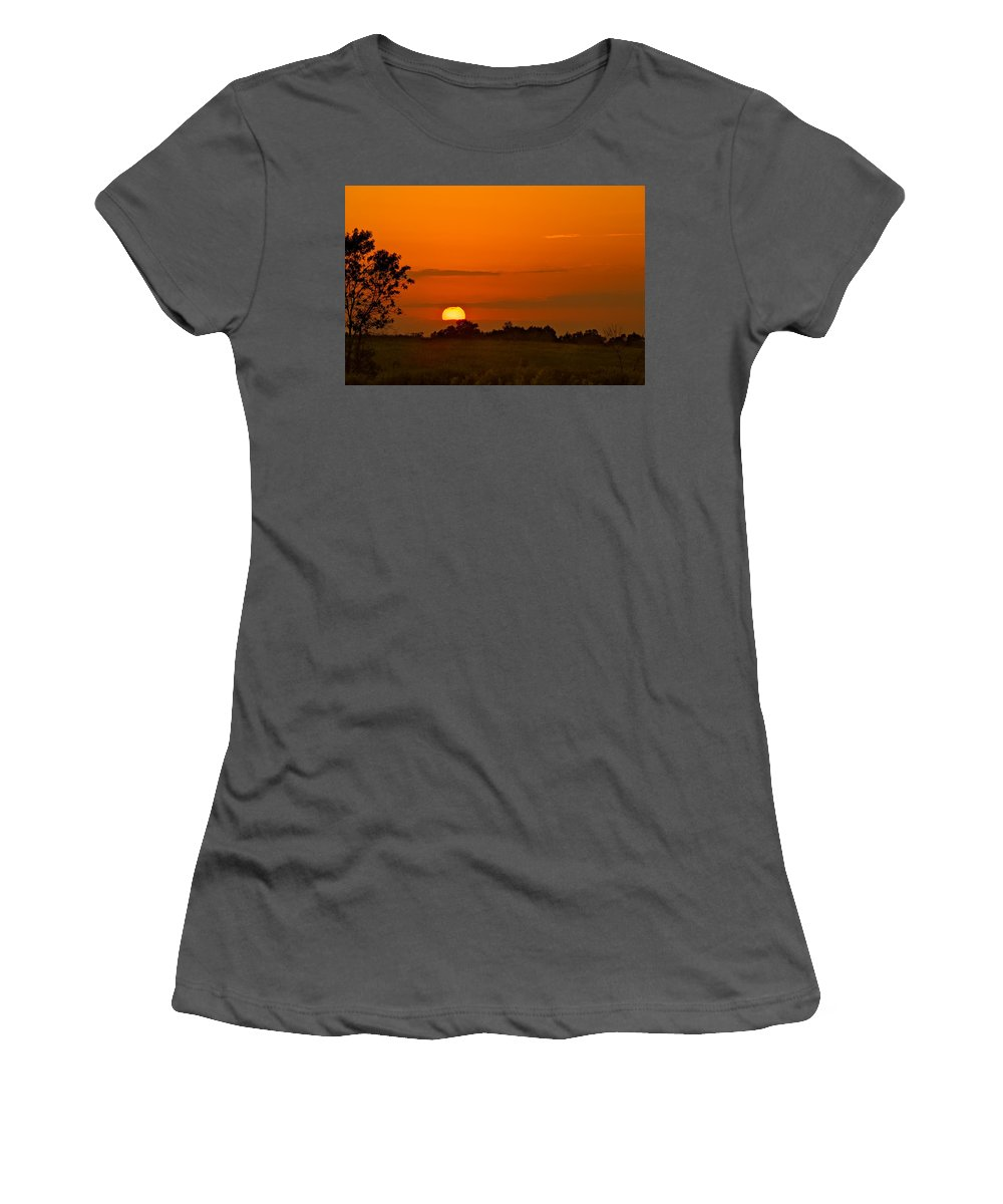 Cloud Women's T-Shirt (Athletic Fit) featuring the photograph Sunset Over Horicon Marsh by Steve Gadomski