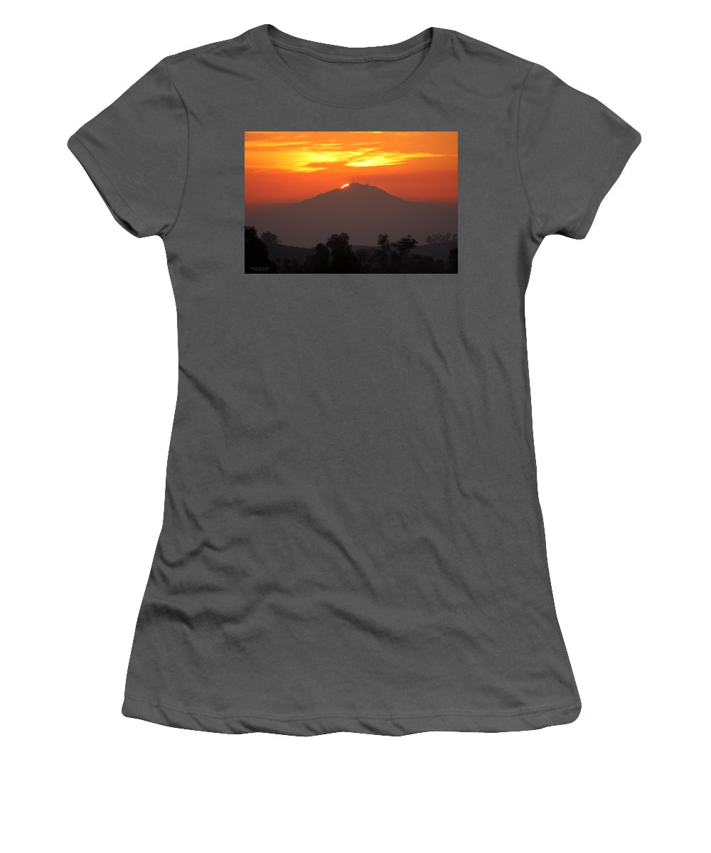 Sun Women's T-Shirt (Athletic Fit) featuring the photograph Sunset Over Mt. Woodson by Randall Thomas Stone