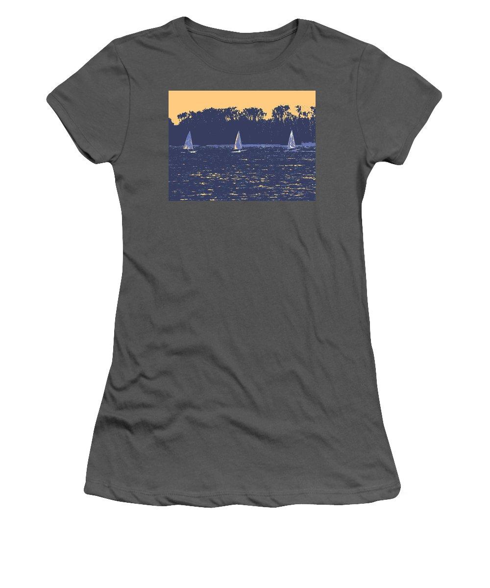 Sail Boat Women's T-Shirt (Athletic Fit) featuring the digital art Sunset Race by Ian MacDonald