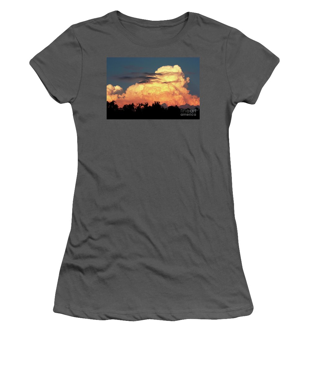 Sunset Women's T-Shirt (Athletic Fit) featuring the photograph Sunset Storm Clouds Over The Marsh by Carol Groenen